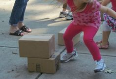 Decorate the boxes as parts of the scarecrow.stack in order from the bottom up! Stack the Box Relay Race by Teach Preschool Gross Motor Activities, Movement Activities, Preschool Games, Teach Preschool, Teaching Kids, Preschool Projects, Preschool Ideas, Games For Kids, Activities For Kids