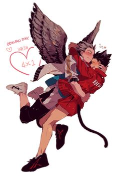 Haikyuu owl Bokuto and cat Kuroo
