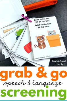 Speech and Language Screening Tool - Grab and GO! Speech Language Therapy, Speech Language Pathology, Speech And Language, Speech Therapy, Language Activities, Therapy Activities, Therapy Ideas, Social Communication Disorder, Receptive Language