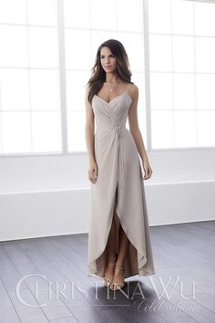 b2233ee4b35 Jacquelin Bridals Canada - 22808 - Bridesmaids - A fanciful dress with a  ruched bodice tucked into its empire waistline. The high-low skirt is  formed by ...