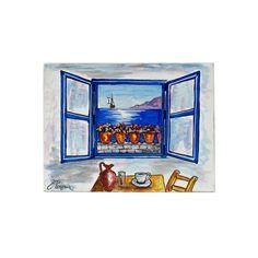 (Ελληνικά) Χειροποίητος πίνακας ζωγραφικής με τοπίο πάνω σε ξύλο ζωγραφισμένο με λαδομπογιάδες Under Construction, Bookends, Greek, Museum, Paintings, Places, Handmade, Home Decor, Art