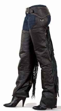 NEW! Ladies Black Leather Motorcycle Chaps with Studs, Beaded Fringe and Snaps