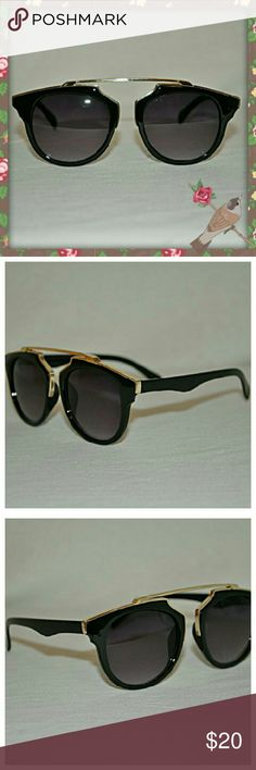 NWOT Black & Gold Shades These stunning shades are sure to cause some envy. Thick plastic black rims around black lenses with a gold band across the top and bridge. These are truly amazing and brand spanking new! If you have any questions I am here to help!  *Same day shipping *Reasonable offers accepted *No trades *Check out my bundle below!! Accessories Sunglasses