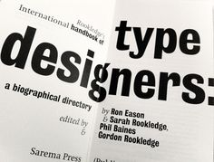 Title spread from Rookledge's International Handbook of Type Designers. Bureau Grot font by Font Bureau Typo Poster, Wines, Typography, Type, Designers, Letterpress, Letterpress Printing, The Print Shop, Script Fonts