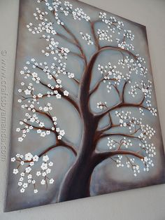 White Cherry Blossom Tree Painting - step by step acrylic. Maybe for Zoey but with purple blooms