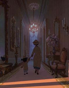 """Now that I see this image out of context from the movie, it's rather sad seeing the hardworking black woman lead her daughter out of the mansion into the """"dark"""" with glowing light of wealth behind them. Disney Pixar, Disney Nerd, Arte Disney, Disney Films, Disney And Dreamworks, Disney Images, Disney Pictures, Cute Disney Wallpaper, Cartoon Wallpaper"""