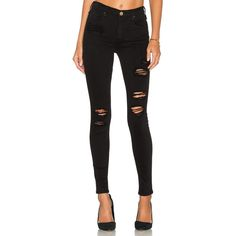MCGUIRE Newton Skinny ($225) ❤ liked on Polyvore featuring jeans, skinny jeans, skinny leg jeans, distressed jeans, destroyed jeans and destruction jeans