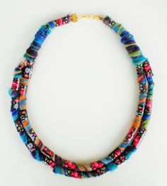 Colorful necklace, bib necklace, bold necklace, statement necklace, fiber jewelry, OOAK necklace gift idea for her by Jiakuma