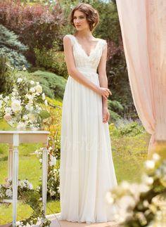Robes de mariée - $163.98 - Forme Princesse Col V Longueur ras du sol Mousseline Robe de mariée avec Dentelle (0025055896)