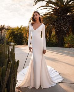 Shop a great selection of Pronovias Bianca Embellished Inset Long Sleeve Crepe Trumpet Wedding Dress. Find new offer and Similar products for Pronovias Bianca Embellished Inset Long Sleeve Crepe Trumpet Wedding Dress. Wedding Dress Sizes, Sexy Wedding Dresses, Wedding Dress Sleeves, Bridal Dresses, Lace Sleeves, Wedding Gowns, Lace Wedding, Simple Dresses, Nice Dresses