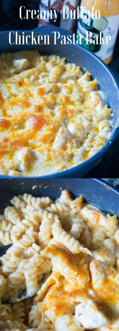 Creamy buffalo chicken pasta bake - this can easily be made in one dish, and it's the perfect weeknight meal!