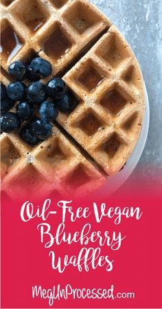 These healthy waffles are dairy-free, oil-free, naturally sweetened and can be made gluten-free with oat flour. Oil Free Waffle Recipe, Waffle Recipes, Ww Recipes, Whole Food Recipes, Gluten Free Pumpkin, Vegan Pumpkin, Vegan Gluten Free, Dairy Free, Blueberry Waffles