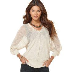 Dkny Jeans Petite Sweater, Long Dolman Sleeve Open Knit Crochet Trim Sweater found on Polyvore