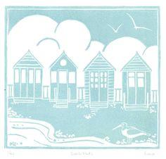 original_four-beach-huts-lino-print.jpg 900×863 pixels