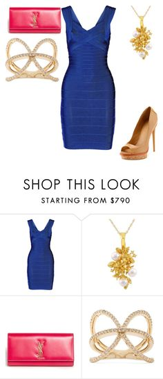 """Untitled #24189"" by edasn12 ❤ liked on Polyvore featuring Hervé Léger, Yves Saint Laurent, L.A.M.B. and Jacquie Aiche"