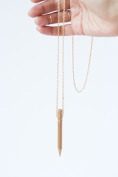 DIY Gold Pencil Necklace - Lovely Indeed