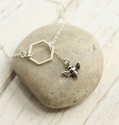 Sterling Silver Bee and Honeycomb Lariat Necklace - pinned by pin4etsy.com