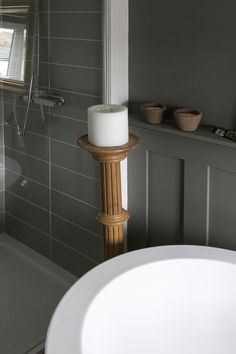 Main Bathroom. Wall and panelling painted using Little Greene Grey Moss. Wood treated with Osmo Polyx-oil.