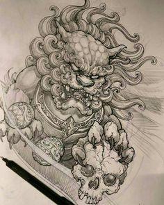 Foo dog design Source by peterhuprich Tattoo Sketches, Tattoo Drawings, Body Art Tattoos, Hand Tattoos, Japanese Demon Tattoo, Japanese Sleeve Tattoos, Japanese Foo Dog, Japanese Art, Tattoo Japonais