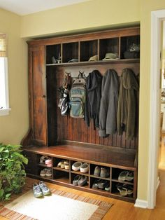 DIY Built in mudroom coat, boot and hat oragnizer