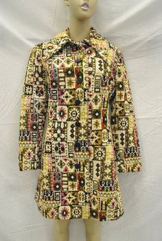 Vintage 1960s Multicolor Patterned Tapestry Coat by Dee Dee Deb, sz 4 by ATXGoodwillBoutique, $120.00