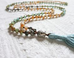 Long Boho Beaded Necklace - Teal Blue/Orange Mix Faceted Crystals w/ Buddha Head Bead; Yoga Inspired Necklace; Long Tassel Necklace; CM38