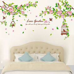 "SWORNA Nature Series Beautiful Branch Pink Flowers with Birds Cage Removable Vinyl DIY Wall Decal Stickers for Bedroom/Living/Sitting Room/Kindergarten Kids Nursery Hallway Classroom 35""H X 59""W SWORNA"