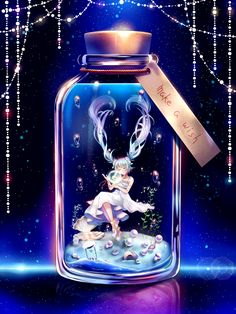 blue_hair bottle bubble closed_eyes dress floating_hair full_body hatsune_miku highres hourglass in_bottle in_container jewelry long_hair minigirl necklace seashell shell shou_ryuusei_ex solo submerged twintails very_long_hair vocaloid white_dress Manga Anime, Anime Chibi, Kawaii Anime Girl, Anime Art Girl, Animes Wallpapers, Cute Wallpapers, Anime Fantasy, Fantasy Art, Lady Fantasy