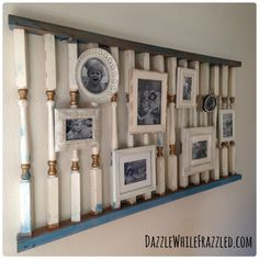 Use Old Railing to Make a Gallery Wall/ via From Salvage Yard to Modern Photo Swag/ via dazzlewhilefrazzled.com