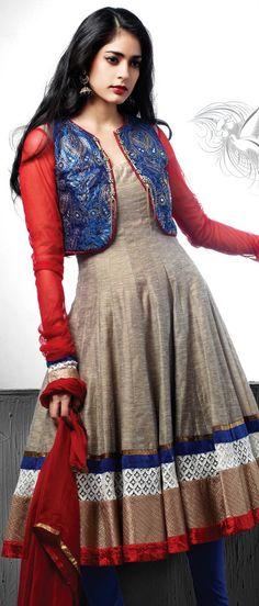 Fawn #Cotton #Silk Readymade #Anarkali Churidar Kameez @ $ 196.02