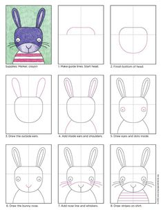 A Cute Bunny Face Drawing · Art Projects for Kids. For an extra cute bunny face drawing, watch where you place the eyes. A large head, with small eyes, that are far apart will always do the trick. Art Drawings For Kids, Drawing For Kids, Easy Drawings, Art For Kids, Drawing Art, Kids Drawing Lessons, Easy Bunny Drawing, Children Drawing, Drawing Ideas