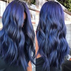 Uploaded by Hair & Hairstyles. Find images and videos about blue-purple hair color on We Heart It - the app to get lost in what you love. Blue Purple Hair, Violet Hair, Hair Dye Colors, Indigo Hair Color, Hair Color And Cut, Coloured Hair, Aesthetic Hair, Hairstyles Haircuts, Gorgeous Hair
