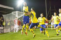 The joy of scoring against Exeter City for Warrington Town's Craig Robinson in the 1st Rd proper of the FA Cup