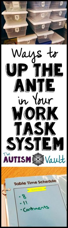 Even older and more advanced students in an autism classroom can benefit from a work task system. Read about how I make my students' work task system more challenging for them by changing their schedules, setup, and tasks in my classroom system.