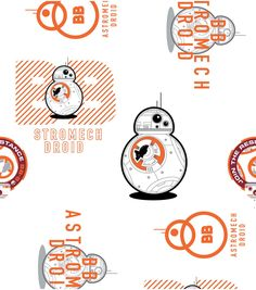 Star Wars VII BB8 Cotton Fabric