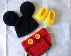 Mickey Mouse Costume Hat and Diaper cover and Feet Get by LadyHudd
