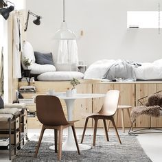 Besta cabinets without legs used to loft a bed. How to Make Your Apartment Feel 10 Times Bigger, According to IKEA Cute Home Decor, Unique Home Decor, Home Decor Styles, Home Decor Accessories, Cheap Home Decor, Ikea Design, Luxury Homes Interior, Interior Design, Interior Modern