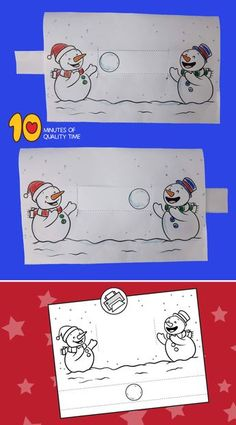 Snowmen Playing With a Snowball - Schneemann Winter Activities For Kids, Winter Crafts For Kids, Winter Kids, Winter Art, Winter Theme, Craft Activities, Winter Christmas, Art For Kids, Theme Noel