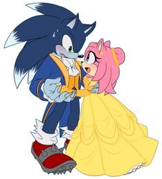 Commission for Sonamy crossover, Sonic nervous trying to learn how to dance hahah I love height difference, wanted to make Amy much smaller than him, she's very tiny in comparision considering she'...
