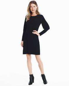 Cutout-Back Long-Sleeve Black Knit Shift Dress