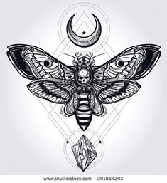 Deaths head hawk moth with moons and stones, philosophy, spirituality, occultism, alchemy, death, magic
