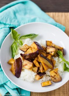 Sweet and spicy grilled eggplant over rice #vegan #recipe