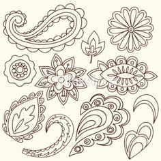 Henna Doodle Paisley Design Elements