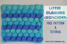 Little Bubbles Dishcloth - Free Crochet Square Pattern and Tutorial at The Stitchin' Mommy. Crochet Stitches Patterns, Crochet Designs, Stitch Patterns, Knitting Patterns, Cloth Patterns, Afghan Patterns, Knitting Ideas, All Free Crochet, Easy Crochet