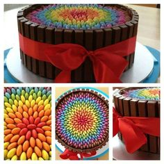 Colourful Kit Kat and Smarties cake with red ribbon. Pretty Cakes, Beautiful Cakes, Amazing Cakes, Candy Cakes, Cupcake Cakes, Sweets Cake, Kitkat Torte, Kitkat Chocolate Cake, Twix Cake