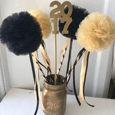 Graduation Party Centerpiece, Black and Gold Tulle Pom Pom Wands, Party Favors, DELUXE , 10 pc set College Graduation Parties, Grad Parties, Graduation Gifts, Graduation Ideas, Graduation Quotes, Graduation Party Centerpieces, Graduation Decorations, Party Favors, Pom Pom Centerpieces