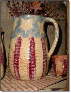 Love this primitive americana pitcher Prim Decor, Primitive Decor, Bennington Pottery, Liberty, Happy Birthday America, Let Freedom Ring, Old Glory, Country Primitive, Vintage Pottery