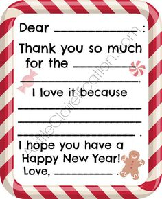 Free Printable Kids Thank You Note! ALittleClaireification.com #free #printables #holidays #crafts