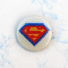 Superman cross stitch 35mm pinback button  by PetipoaNeedleCraft