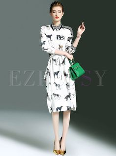 Stylish Animal Print Stripe Asymmetric A-line Dress